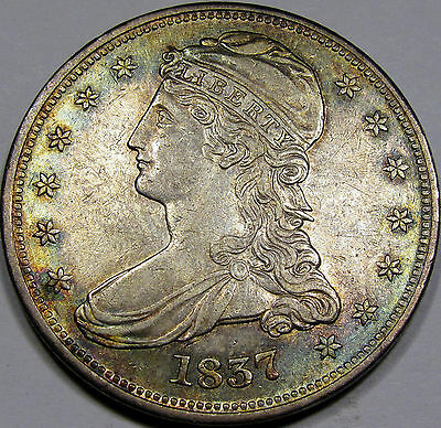 1837 RE Capped Bust Half Dollar Very Choice AU++... Flashy with Superb Toning!!!