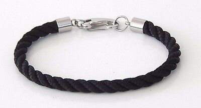 Braided Rope Bracelet Black With Heavy Duty Stainless Clasp  Hand Made USA