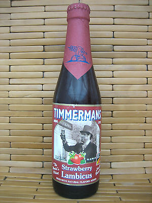 Timmermans Tradition Belgium Strawberry Red Lambic Beer Bottle Empty