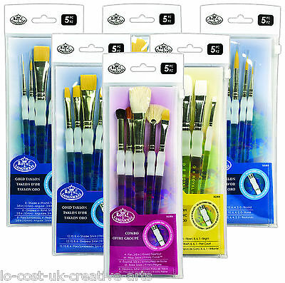 Royal Artist Soft Grip Assorted Taklon Paint Brush Sets -Acrylic Watercolour Oil