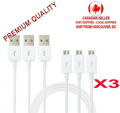 3X Micro USB Charger Charging Sync Data Cable Samsung Galaxy S3 S4 S5 S6 Android