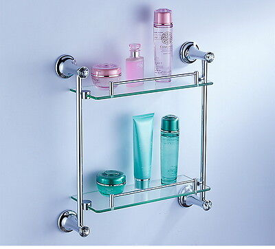 Crystal Silver Double-deck Glass Shelve Toilet Tab Wall Mounted Shower Rack NEW
