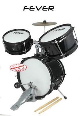 3 Pieces Fever Black Kids Drum Set DS-03-BK with Sticks and Cymbal
