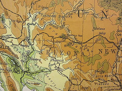1919 Large Map ~ United States & Mexico Land Heights New Mexico Nevada Routes
