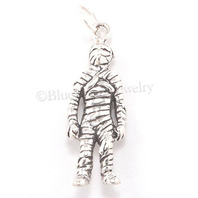 MUMMY Charm Sterling Silver Halloween EGYPTIAN Egypt Pendant solid 925 .925 3D