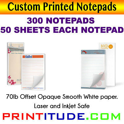 CUSTOM PRINT NOTEPADS 8.5X11 (300 PADS-50 SHEETS) 70LB Opaque Print PERSONALIZED