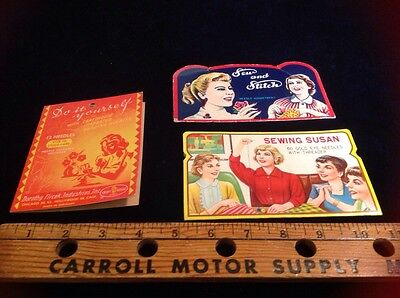 Lot Of 3 Vintage Sewing Needle Books 1950's 1960's