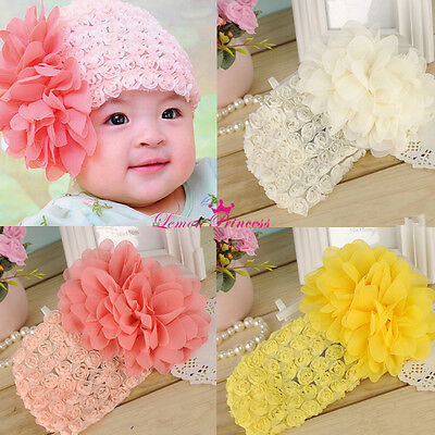 Toddler Kids Baby Girl Big Flower Party Headbands Hair Band Hairnet Accessories