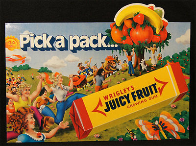 1960's Wrigleys Chewing Gum Shop Display Show Card Juicy Fruit Mint Cond. N0:2.