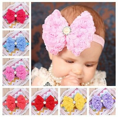 Baby Girl Toddler Kid Big Rose Flower Bowknot Headband Hair Bow Band Accessories