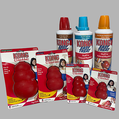 Toy & Filling Combo Kong Classic Easy Treat Stuff Stuffn Fill Bacon Liver Dog