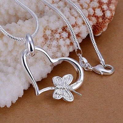 Women Fashion Silver Silver Plated Chain Butterfly Heart Necklace With Pendant