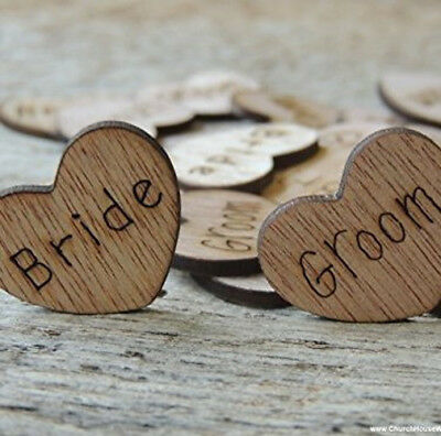 Wedding Table Confetti Favour Wooden Love Hearts Mr Mrs Bride Groom Shabby Chic