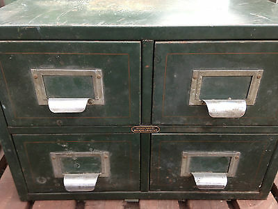 RETRO Vintage Industrial Metal Rustic BANK of DRAWERS Filing Index Cabinet