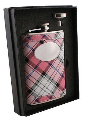 Personalized Visol 8oz. Pink Plaid Stainless Steel Hip Flask Set for Women