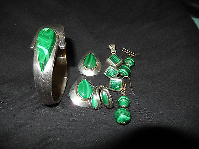 OLD SIGNED MEXICAN STERLING SILVER MALACHITE Cuff Pendant Pin Ring & Earring Set