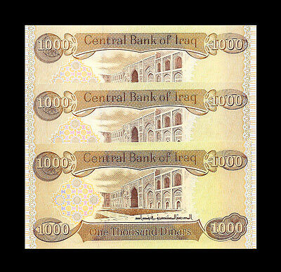 1000 IRAQI DINAR x 3 = 3000 Unc. Lot Of 3 Notes