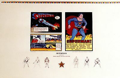 "Superman ""origins"" Unsigned Lithograph By Jerry Siegel"