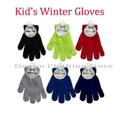 Wholesale Lot Kids Children Plain Solid Asst  Winter Magic Gloves Warm Knitted