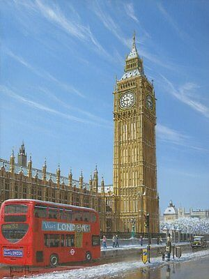 "ORIGINAL RICHARD HARPUM ""Winter Morning Big Ben Elizabeth Tower London"" PAINTING"