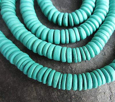 """Coconut beads 10mm. 15"""" strand ~95 beads Heishi rondelle - turquoise  W4"""
