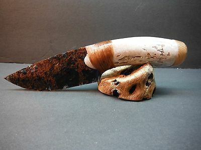 Stubby Deer Antler Handle~Loco Lace Obsidian knife~Christmas gift~Kenny Hull