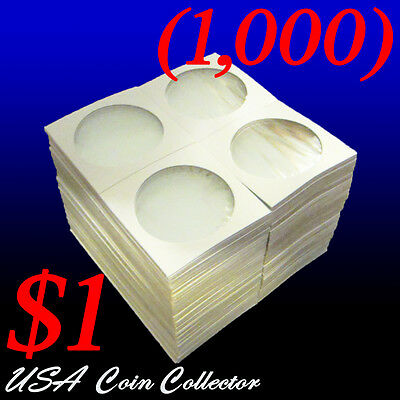 (1000) Large Dollar Size 2x2 Mylar Cardboard Coin Flips for Storage | $1 Holder