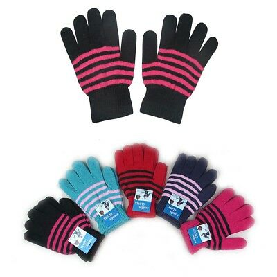 12, 120 Pairs MEN WOMEN MAGIC WINTER WARM KNITTED STRIPED GLOVES WHOLESALE LOT