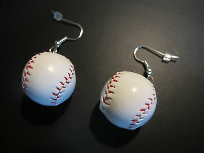 Mini Baseball/Softball Sports Earrings Kitsch Quirky! Realistic Costume New