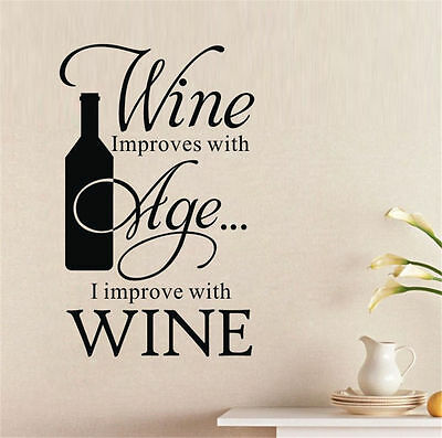 Wall Sticker Wine Improves With Age I Improve Winebottle Quote Bar Kitchen Decor