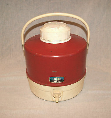 Vintage 1960's Thermos 2 Gallon Insulated Picnic Jug w/ Cup Holder Flip Lid