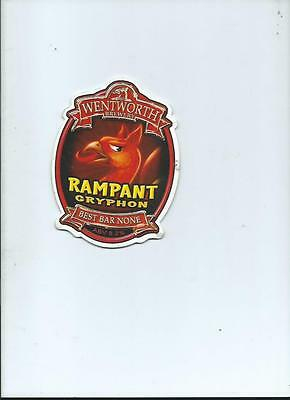 Wentworth Rampant Gryphon Ale Beer Pump Clip face Bar Pub Collectible