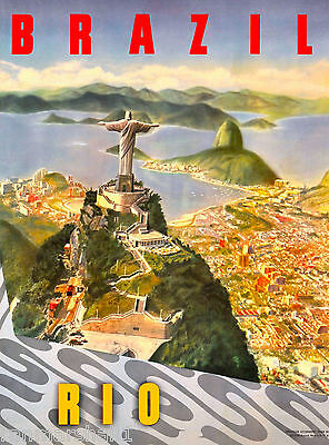 Rio de Janeiro Brazil Sugar South America Vintage Travel Advertisement Poster