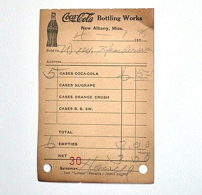Coca-Cola Nugrape Orange Crush Fahrer Quittung USA 1938 Coke Route Receipt