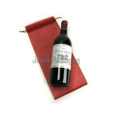 100 Burgundy Organza Party Gift Wine Bottle Bags 15x36cm