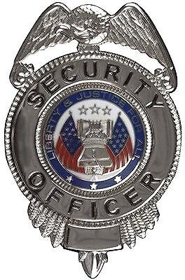 Silver Liberty and Justice for All Security Officer Badge