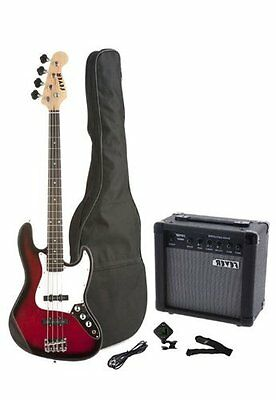 Fever 4-String Electric Jazz Bass, 20-Watts Amp, Bag, Tuner, Cable, Strap, Red