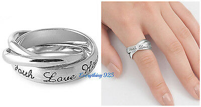 925 Sterling Silver 3&5MM FAITH HOPE & LOVE DESIGN INTERTWINED RINGS SIZES 6-10