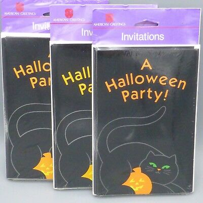 3 Pks Vtg Halloween Party Invitations Black Cat & Pumpkin JOL American Greetings