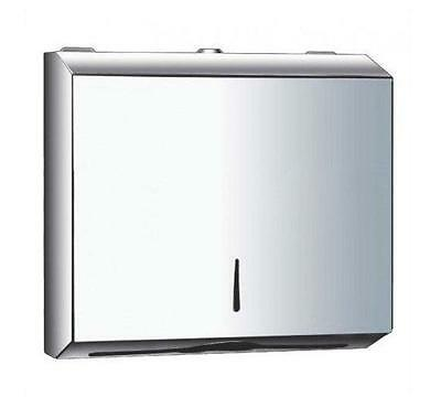 METAL C Fold POLISHED Chrome Stainless Steel Hand Paper Towel Dispenser silver