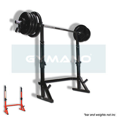 GYMANO | COMBO SQUAT RACK | POWER/STANDS for 7FT OLYMPIC BAR w/WEIGHT PLATE RACK