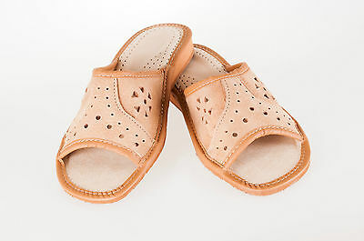 Womens Ladies 100% Natural Leather Slipper Mules Flip-flop Sandals Brown