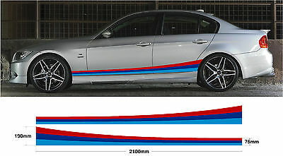 BMW Side Stripes 2.1m - Car decal graphic M sport E30 E36 E39 E46 E60 E90 M3 M5