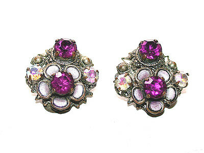 Beautiful Antique Aurora Borealis Stones & Pink Tourmaline Crystal Clip Earrings