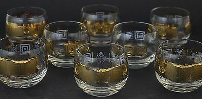 Set 8 MCM Signed Culver CORONET 22K Gold Roly Poly Stemless Wine Glass Tumbler