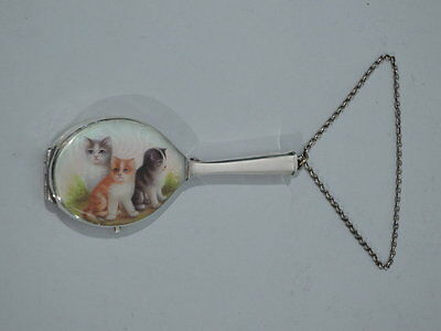Antique Compact - Cute Kitties - Cat Cats - Wrist Chain - Silver and Enamel