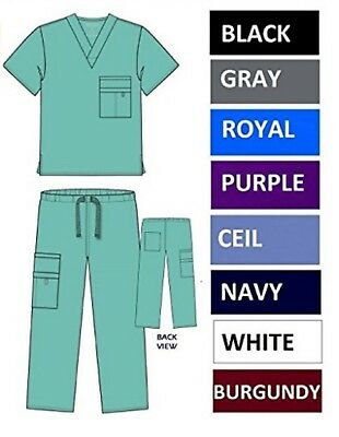 Nursing Scrub Set Medical Zipper Top Cargo Pants 8 Pockets XS-2XL Junior Fit NWT
