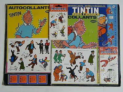 VERY RARE TINTIN COLLECTION of DIFFERENTS VINTAGE STICKERS SHEETS SEALED + GIFTS