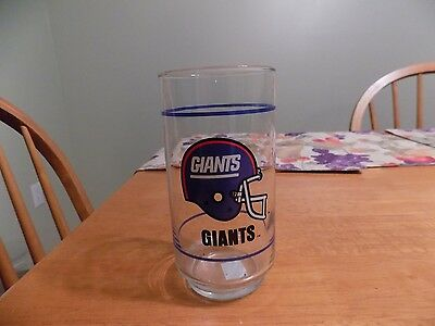 NY Giants * Collectible Glass * Helmet Logo / Mobil Gas / NFL *  Blue Stripe
