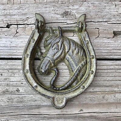 Cast Iron Olive Green Horse with Horseshoe Vintage Country Door Knocker